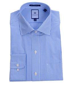 Tommy Hilfiger Mens Blue Plaid Dress Shirt