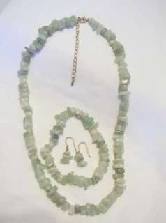 Sterling Silver Genuine Green Jade Chip Necklace Bracelet Earrings SET