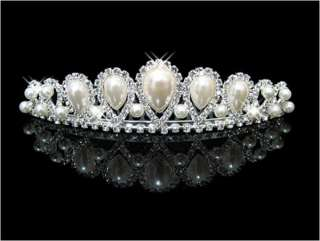 Wedding Bridal crystal Pearl tiara crown headband comb