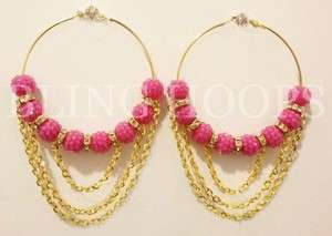 NEW Bling Hoops Pink Gold Chain Rhinestone Earrings Basketball Wives