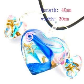 Murano Lampwork Glass Love Pendant Chain Necklace Earrings Set