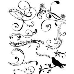 Autumn Leaves Rhonnas Christmas Swirls Clear Stamps