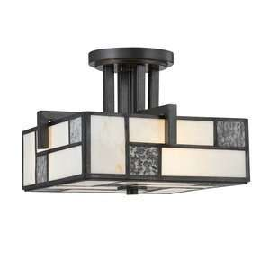 Flush Mount, Charcoal Finish with Art Glass with White Fabric Shade