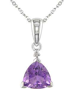 10k White Gold Trillion cut Amethyst Necklace
