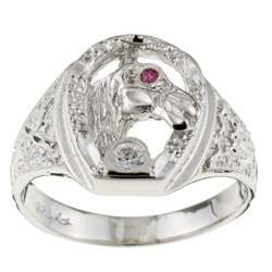 Sterling Silver Mens CZ Lucky Horseshoe Ring (Size 9.5)  Overstock