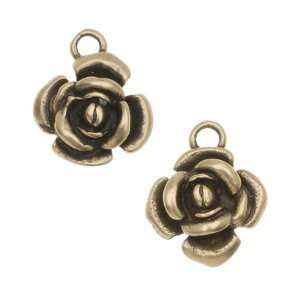 Antiqued Brass Tiny Flower Charms 12.5mm (2) Arts, Crafts & Sewing