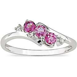 10k White Gold Pink Topaz and Diamond Ring