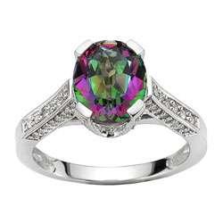 14k White Gold 1/3ct TDW Diamond Mystic Topaz Ring