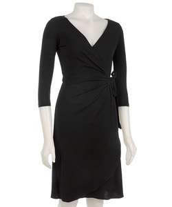London Times Womens Black Wrap Dress