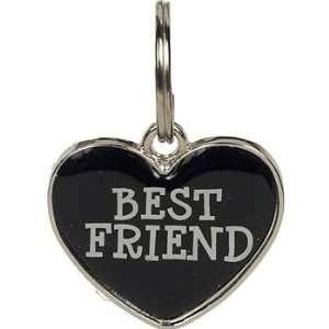 Closet 18 mm Black Enamel Heart BEST FRIEND Tag Charm, ColorSilver