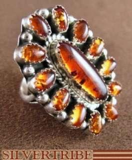 Native American Navajo Amber Silver Ring Size 7 1/4