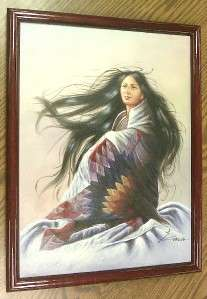 ORIGINAL SIGNED Z. GARCIA NATIVE INDIAN WOMAN PAINTING