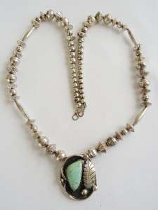 STERLING SILVER & TURQUOISE Pendant & Beaded Necklace   84 gr