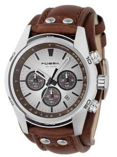 Fossil Mens Silver Brown Leather Strap Watch CH2565