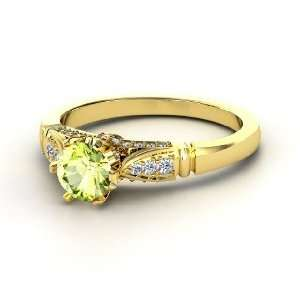 Ring, Round Peridot 14K Yellow Gold Ring with Diamond Jewelry