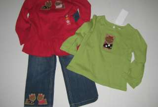 Toddler Girl Size 3T Pups and Kisses Outfit Jeans & Two Shirts NEW