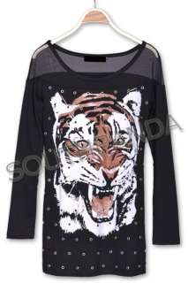 SC189 Black Punk Rock Tiger Ring T Shirt Top Gothic