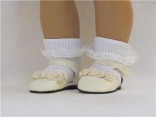 Doll Clothes Shoes w/Roses Ivory Fits American Girl & 18 Dolls