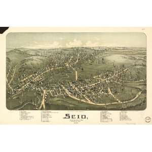 Historic Panoramic Map Scio, Harrison County, Ohio. Drawn