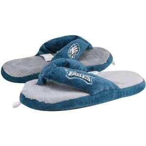 NFL Philadelphia Eagles Ladies Blue Gray Plush Thong Slippers