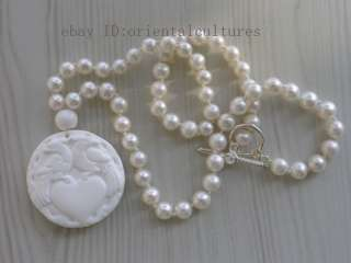 Nice freshwater cultured pearl white coral pendant necklace