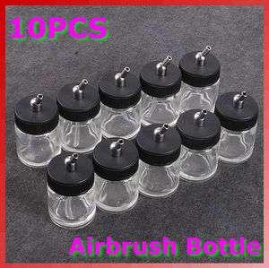 10PCS Airbrush Air Brush Glass Bole Jar w/ Sandard Sucion Lid Pump