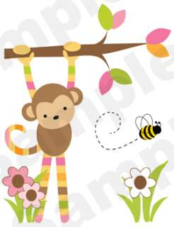 PINK BROWN GREEN JUNGLE ANIMALS MONKEY ZEBRA NURSERY BABY WALL