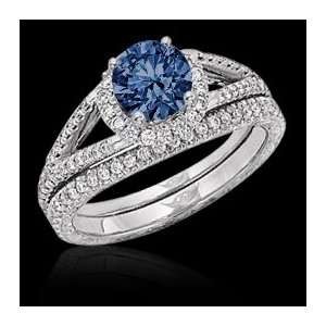 1.81 carat round blue diamonds ring white gold 14K