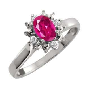 0.58 Ct Oval Pink Tourmaline and White Diamond Argentium