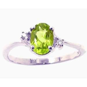 and Slender Oval Gemstone and Diamond Engagement Ring Peridot, size6.5