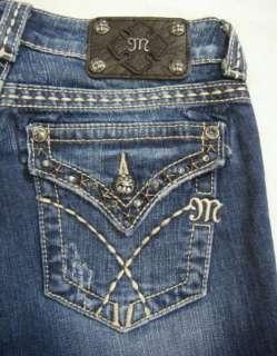 NWT MISS ME Triple Pick Stitch Stars Studs Crystals Bootcut Jeans