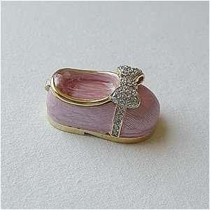Pink Baby Keepsake Box Swarovski Crystals 24K Gold Shoe