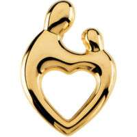 Mother & Child Pendant 14K White or Yellow Solid Gold ®