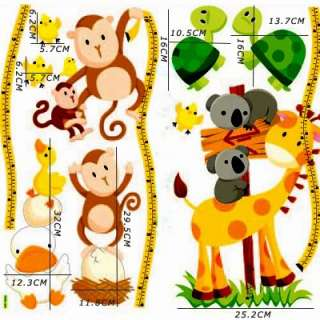 Cute Monkey Tree Home Room Wall kid Height Stature Decor Stickers