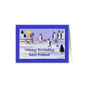 Birthday Best Friend / blue   Penguins Card Health & Personal Care