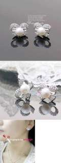 CZs Pearl Silver Color Pearl Fashion Earrings Women Girl