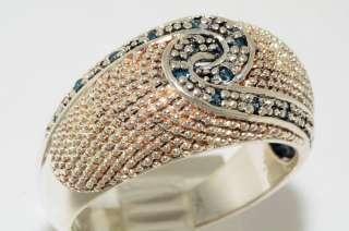 12CT SWIRL DESIGN ROUND CUT FINE BLUE DIAMOND RING SIZE 6