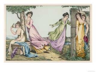 Elegant Ladies Play Hide and Seek in the Garden Giclee Print at