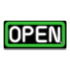 Neon Open Sign   Green Border & White Letters: Office Products