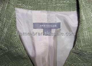 ANN TAYLOR SAGE GREEN TWEED BLAZER JACKET WOMENS SIZE 4