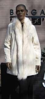 57343C New White Brown Spot Sheared Rabbit Raccoon Fur Stroller Coat