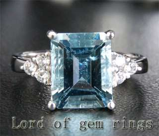 Cut Aquamarine .21ct Diamond 14K White Gold Engagement Ring 7#