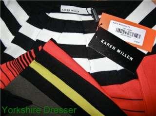 New KAREN MILLEN Red Black White CONTRAST STRIPE KNIT BodyCon Dress 6