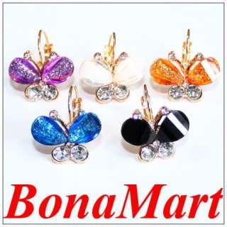 shinny Crystal Butterfly Rhinestone hoop stud earrings for girl AAA