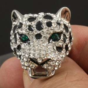 Crystals High Quality Clear Leopard Panther Ring USA8#,UKP 1/2