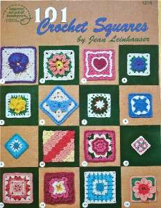101 CROCHET SQUARES Pattern Book~Leinhauser~Cat Heart Flowers Granny