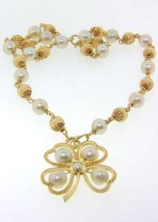 Vintage Pearl & Solid Gold 14K Lucky Shamrock Necklace
