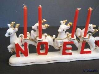 Vtg MINT 1950s Relco Santa Sleigh & Reindeer Noel CHRISTMAS Figurine