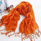 Striped Printed 100% Wool Pashmina Scarf Shawl Wrap   Orange, yellow