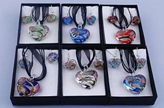 W14537 6Boxes Heart Murano Glass Pendant Necklace Sets